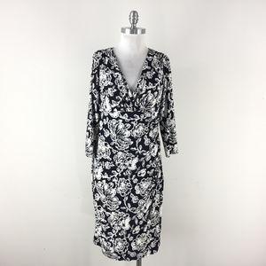 Ralph Lauren L 10 12 Faux Wrap navy Floral Dress